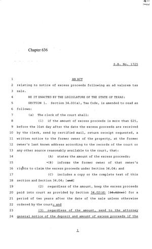 Primary view of object titled '84th Texas Legislature, Regular Session, Senate Bill 1725, Chapter 636'.