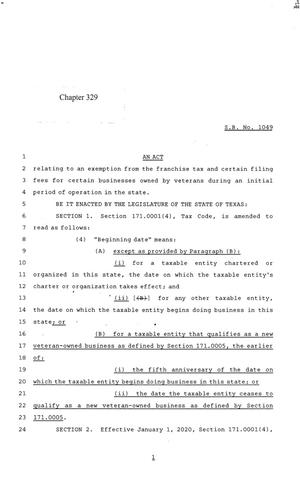 Primary view of object titled '84th Texas Legislature, Regular Session, Senate Bill 1049, Chapter 329'.