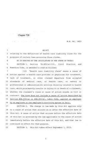 Primary view of object titled '84th Texas Legislature, Regular Session, House Bill 1403, Chapter 728'.