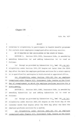 Primary view of object titled '84th Texas Legislature, Regular Session, House Bill 437, Chapter 150'.