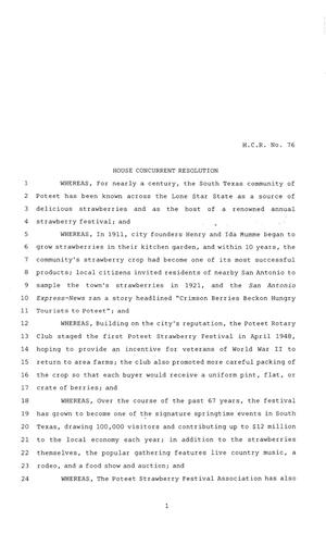 Primary view of object titled '84th Texas Legislature, Regular Session, House Concurrent Resolution 76'.