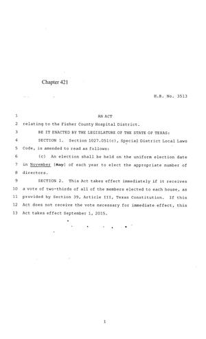 Primary view of object titled '84th Texas Legislature, Regular Session, House Bill 3513, Chapter 421'.