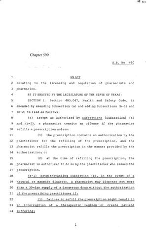 84th Texas Legislature, Regular Session, Senate Bill 460, Chapter 599, 84th Legislature of Texas, Senate Bills, An act relating to the licensing and regulation of pharmacists and pharmacies.