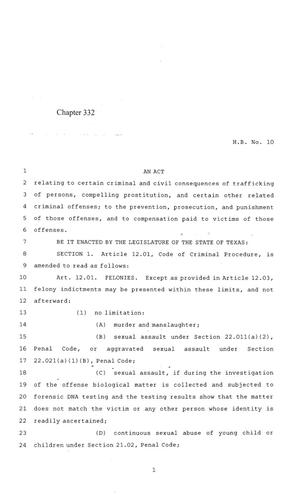 Primary view of object titled '84th Texas Legislature, Regular Session, House Bill 10, Chapter 332'.