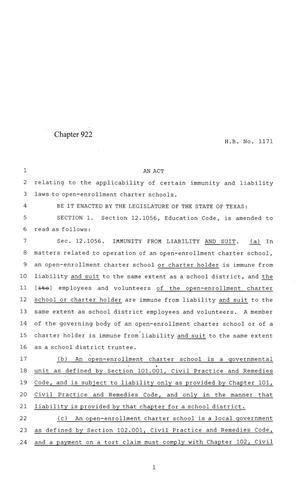 Primary view of object titled '84th Texas Legislature, Regular Session, House Bill 1171, Chapter 922'.