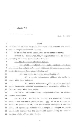 Primary view of object titled '84th Texas Legislature, Regular Session, House Bill 1252, Chapter 715'.