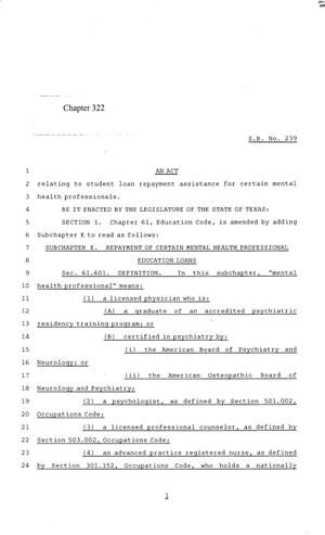 Primary view of object titled '84th Texas Legislature, Regular Session, Senate Bill 239, Chapter 322'.