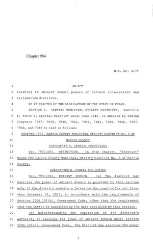 Primary view of object titled '84th Texas Legislature, Regular Session, House Bill 4175, Chapter 984'.