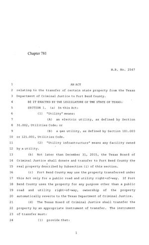 Primary view of object titled '84th Texas Legislature, Regular Session, House Bill 2547, Chapter 781'.