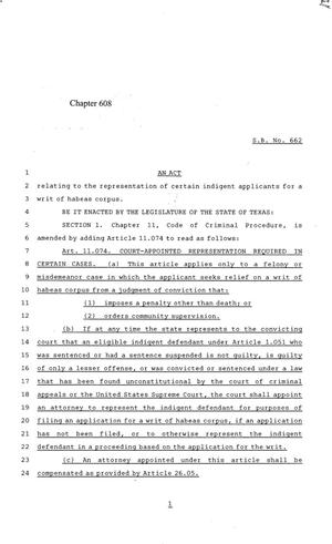 Primary view of object titled '84th Texas Legislature, Regular Session, Senate Bill 662, Chapter 608'.