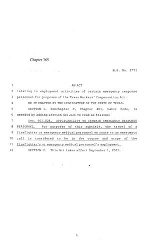 Primary view of object titled '84th Texas Legislature, Regular Session, House Bill 2771, Chapter 365'.