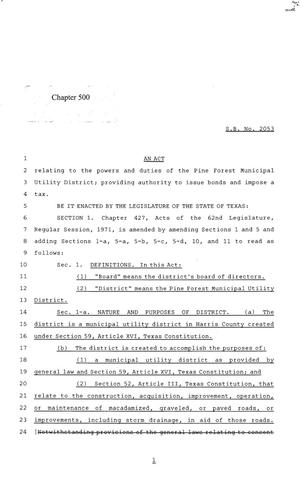 Primary view of object titled '84th Texas Legislature, Regular Session, Senate Bill 2053, Chapter 500'.