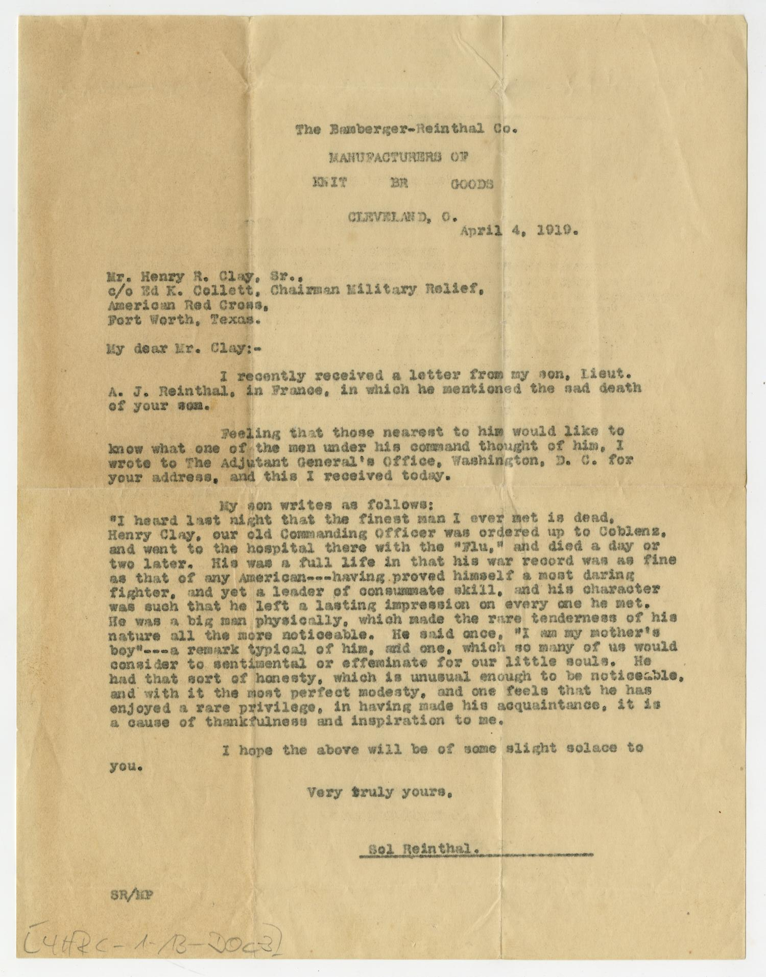 [Letter from Sol Reinthal to Henry Clay, Sr., April 4, 1919]                                                                                                      [Sequence #]: 1 of 2