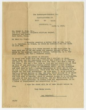 [Letter from Sol Reinthal to Henry Clay, Sr., April 4, 1919]