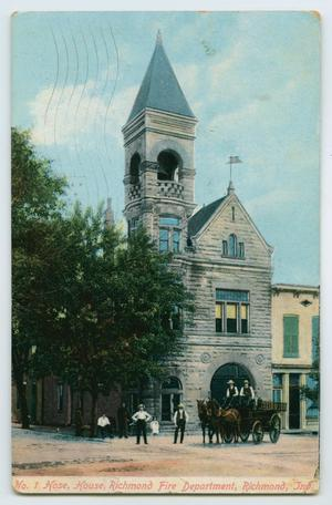 Primary view of object titled '[Postcard of Richmond Fire Department]'.