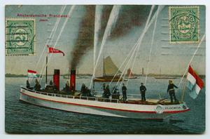 [Postcard of Amsterdam Fire Department on a Boat]