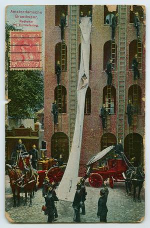Primary view of object titled '[Postcard of an Amsterdam Fire Department Rescue]'.