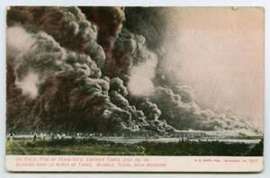 Primary view of object titled '[Postcard of a Burning Oil Field, Humble, Texas]'.