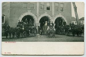 Primary view of object titled '[Postcard of a Fire Department]'.