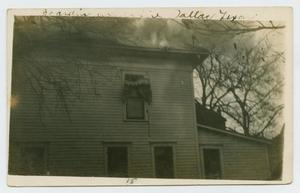 Primary view of object titled '[Postcard with a Photograph of a Smoking Home in Dallas, Texas]'.