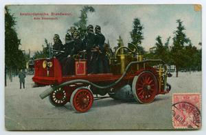 Primary view of object titled '[Postcard of Amsterdam Fire Department]'.