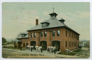 Primary view of object titled '[Postcard of Maplewood Fire Station]'.