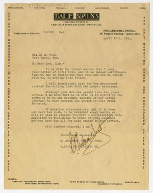 Primary view of object titled '[Letter from C. Anderson Wright to Mr. and Mrs. Clay, April 15, 1921]'.