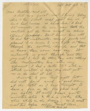 Primary view of object titled '[Two Letters from Henry Clay, Jr. to his Mother, October 27 & 28, 1917]'.