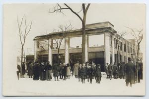 Primary view of object titled '[Postcard with a Photograph of a Garage Fire in Chicago]'.