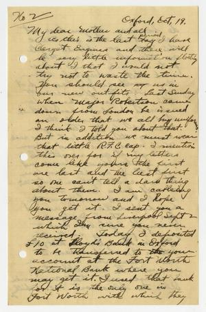 Primary view of object titled '[Letter from Henry Clay, Jr. to his Mother, October 19, 1917]'.