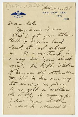 Primary view of object titled '[Letter from Henry Clay, Jr. to his Brother Ashton, February 22, 1918]'.