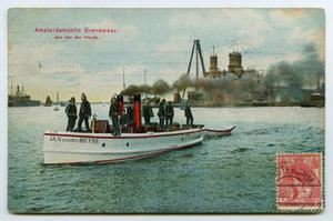 Primary view of object titled '[Postcard of Amsterdam Fire Department on a Boat]'.