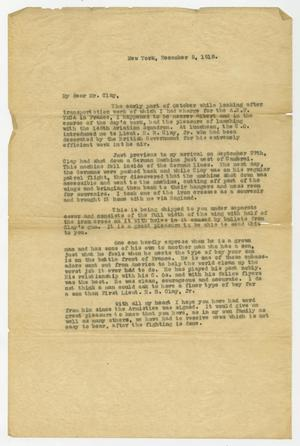 [Letter from E. A. Starks to Henry Clay, Sr., December 5, 1918]