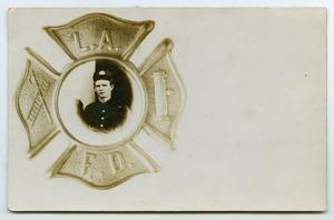 Primary view of object titled '[Postcard of a Los Angeles Fire Fighter]'.