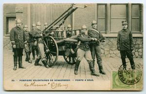 Primary view of object titled '[Postcard of French Fire Department]'.
