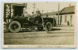 Primary view of object titled '[Postcard with a Photograph of a Fire Truck in Dallas, Texas]'.