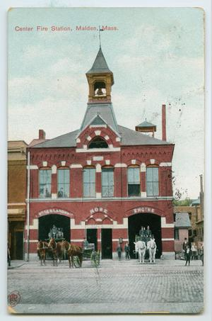 Primary view of object titled '[Postcard of Center Fire Station, Maiden, Mass.]'.