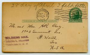 Primary view of object titled '[Postcard from Henry Clay, Jr. to his Family, April 28, 1917]'.