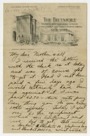 Primary view of object titled '[Letter from Henry Clay, Jr. to his Family, Fall 1917]'.