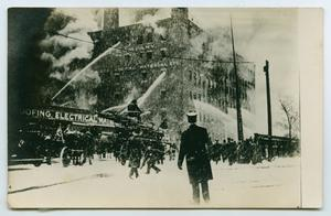 Primary view of object titled '[Postcard with a Photograph of the H. W. Johns-Manville Co. Fire in 1909]'.