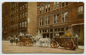 Primary view of object titled '[Postcard of Chicago Fire Department]'.