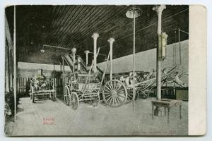 Primary view of object titled '[Postcard of a Fire Station Interior]'.
