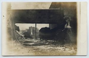 Primary view of object titled '[Postcard from J. P. Eagan with a Photograph of a Burnt Building]'.