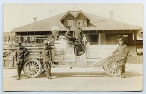 Primary view of object titled '[Postcard with a Photo of a Long Beach Fire Department Truck]'.