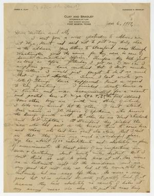 Primary view of object titled '[Letter from Henry Clay, Jr. to his Family, January 6, 1918]'.