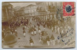 Primary view of object titled '[Postcard of a Funeral Parade, Panama]'.