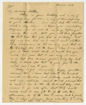 Primary view of object titled '[Letter from Henry Clay, Jr. to his Mother, November 13, 1917]'.