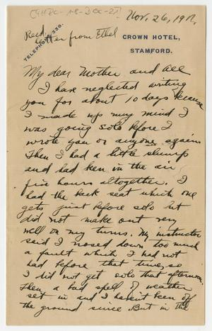 Primary view of object titled '[Letter From Henry Clay, Jr. to his Family, November 26, 1917]'.