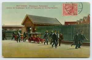 Primary view of object titled '[Postcard of Rotterdam Fire Department]'.