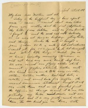 Primary view of object titled '[Letter From Henry Clay, Jr. to his Family, October 29, 1917]'.
